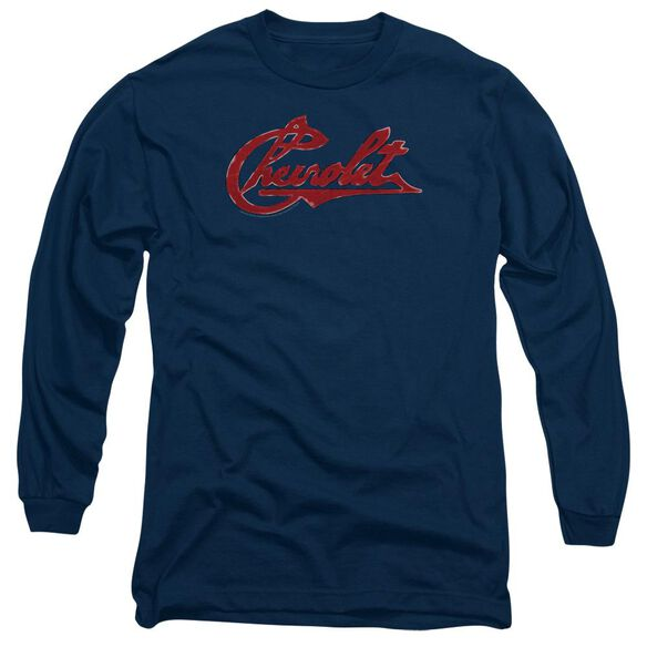 Chevrolet Chevrolet Script Distressed Long Sleeve Adult T-Shirt