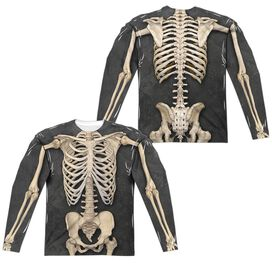 Skeleton Costume (Front Back Print) Long Sleeve Adult Poly Crew T-Shirt