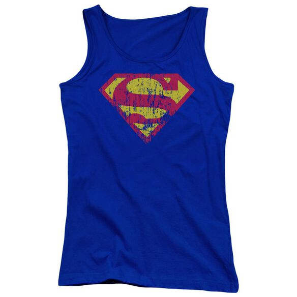Superman Classic Logo Distressed Juniors Tank Top Royal
