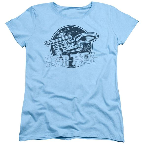 Star Trek Retro Enterprise Short Sleeve Womens Tee Light T-Shirt
