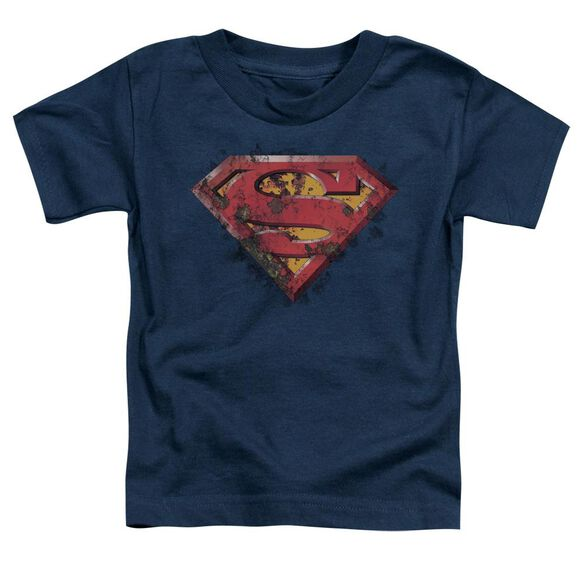 Superman Rusted Shield Short Sleeve Toddler Tee Navy Lg T-Shirt