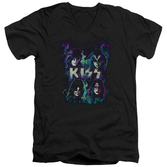 Kiss Colorful Fire Short Sleeve Adult V Neck T-Shirt
