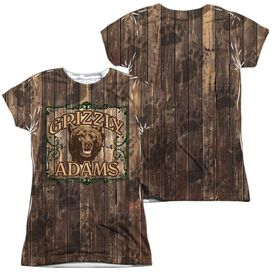 Grizzly Adams Paw Prints (Front Back Print) Short Sleeve Junior Poly Crew T-Shirt