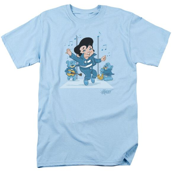 Elvis Jailhouse Rocker Short Sleeve Adult Light Blue T-Shirt
