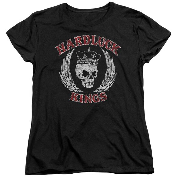 Hardluck Kings Red Letter Distressed Short Sleeve Womens Tee T-Shirt