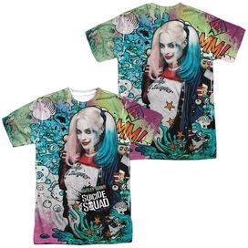 Suicide Squad Harley Psychedelic Cartoon (Front Back Print) Short Sleeve Adult Poly Crew T-Shirt