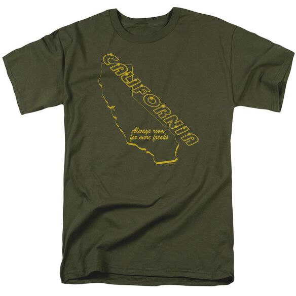 California Freaks Short Sleeve Adult Military Green T-Shirt