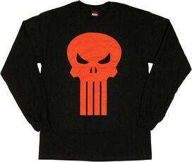 Punisher Red Orange Skull Long Sleeve T-Shirt