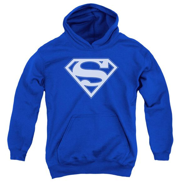 Superman & White Shield Youth Pull Over Hoodie Royal