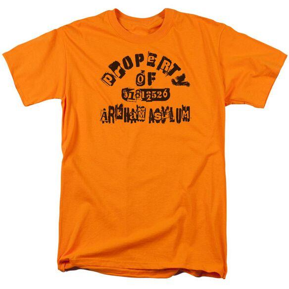Batman Property Of Arkham Short Sleeve Adult Orange T-Shirt