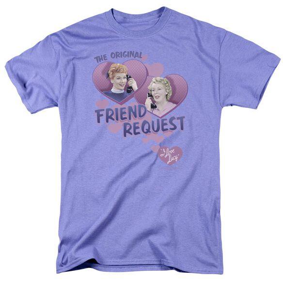 I Love Lucy Friend Request Short Sleeve Adult Lavendar T-Shirt
