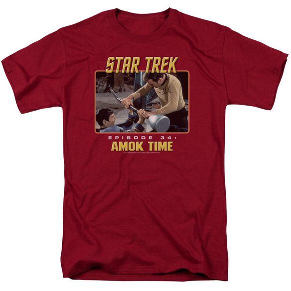 St Original Amok Time Short Sleeve Adult Cardinal T-Shirt