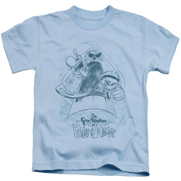 Grim Adventures Of Billy & Mandy Sketched Short Sleeve Juvenile Light Blue T-Shirt