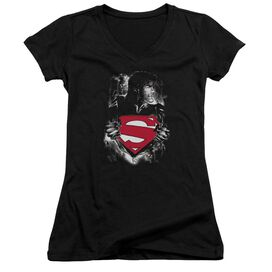 Superman Darkest Hour - Junior V-neck - Black