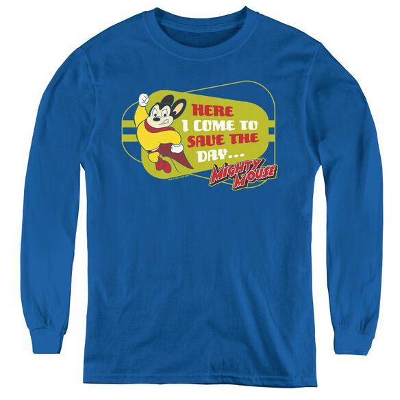 Mighty Mouse Here I Come - Youth Long Sleeve Tee - Royal Blue