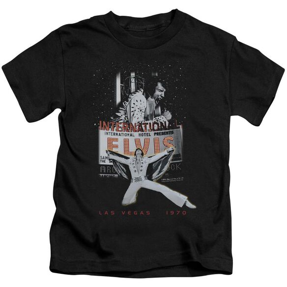 Elvis Las Vegas Short Sleeve Juvenile Black T-Shirt