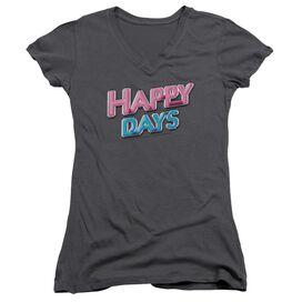 Happy Days Happy Days Logo - Junior V-neck - Charcoal
