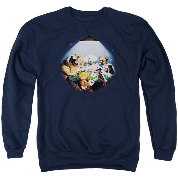 Garfield Playing With The Big Dogs - Adult Crewneck Sweatshirt - Navy
