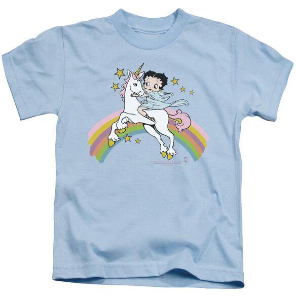 Betty Boop Unicorn & Rainbows Short Sleeve Juvenile Light Blue T-Shirt