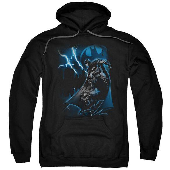Batman Lightning Strikes Adult Pull Over Hoodie Black