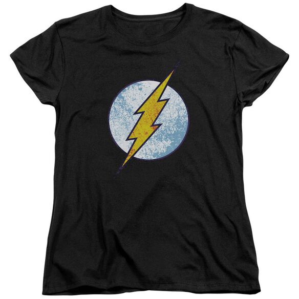 Dc Flash Flash Neon Distress Logo Short Sleeve Womens Tee T-Shirt