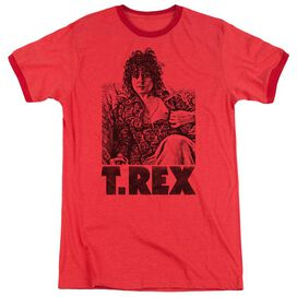 T Rex Lounging Adult Heather Ringer Red