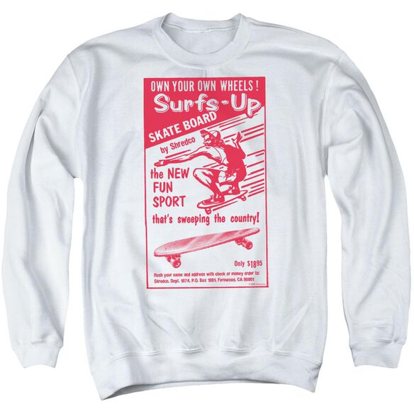 Surfs Up - Adult Crewneck Sweatshirt - White