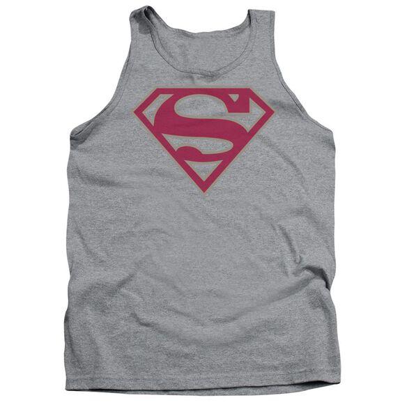 Superman Crimson & Gray Shield Adult Tank Athletic