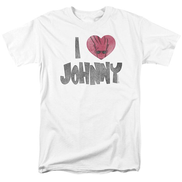 Johnny Bravo I Heart Johnny Short Sleeve Adult White T-Shirt