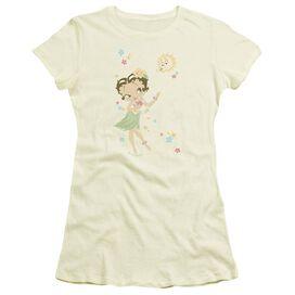 Betty Boop Hula Flowers Short Sleeve Junior Sheer T-Shirt