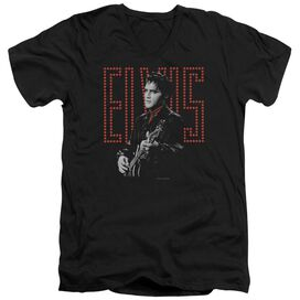 Elvis Red Guitarman Short Sleeve Adult V Neck T-Shirt