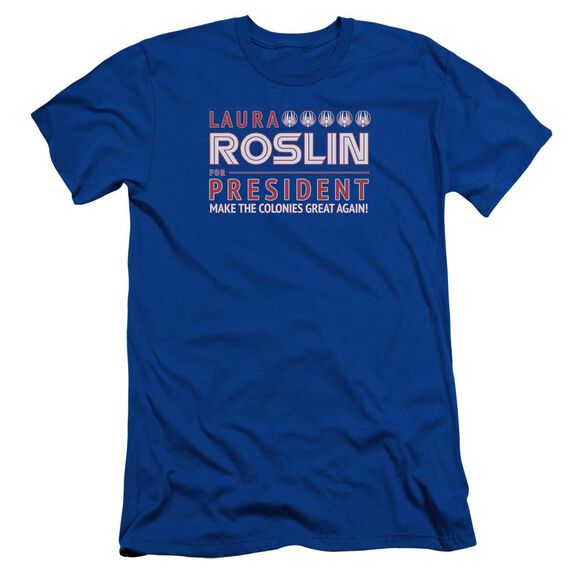 Bsg Roslin For President Short Sleeve Adult Royal T-Shirt