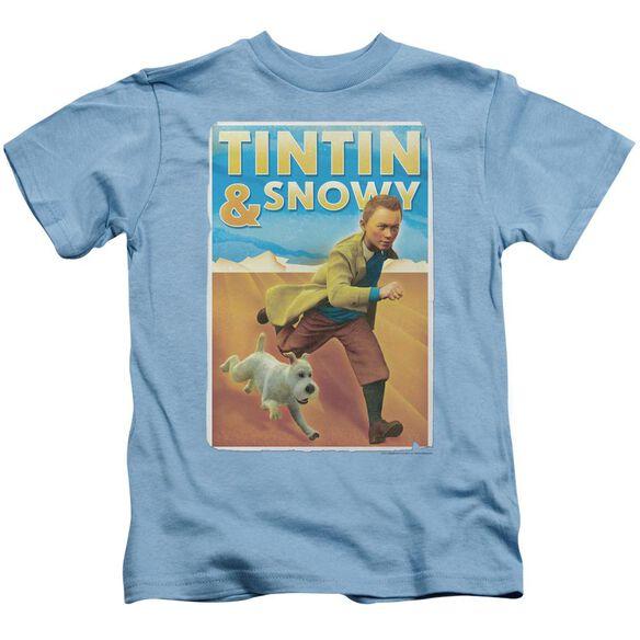 Tintin Tintin & Snowy Short Sleeve Juvenile Carolina Blue Md T-Shirt