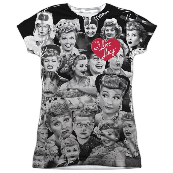I Love Lucy Faces Short Sleeve Junior Poly Crew T-Shirt