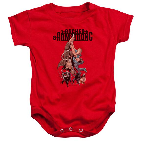 Archer & Armstrong Hang In There Infant Snapsuit Red