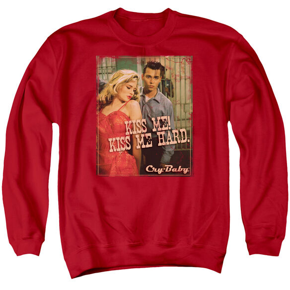 Cry Baby Kiss Me - Adult Crewneck Sweatshirt - Red