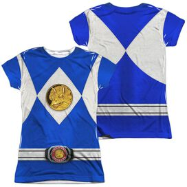 Power Rangers Blue Ranger Emblem (Front Back Print) Short Sleeve Junior Poly Crew T-Shirt