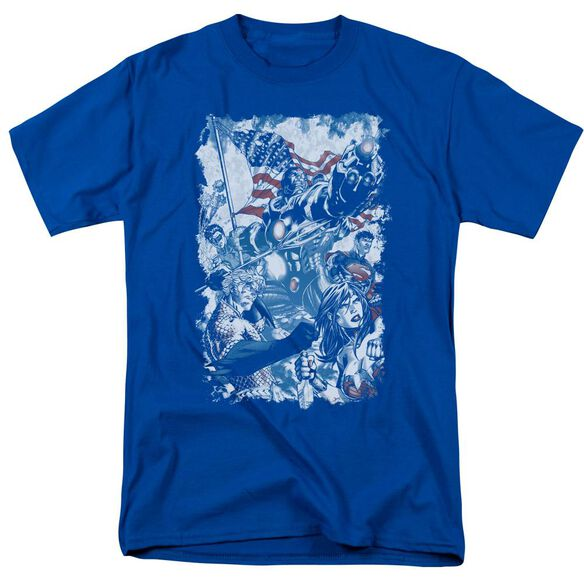 Jla American Justice Short Sleeve Adult Royal T-Shirt