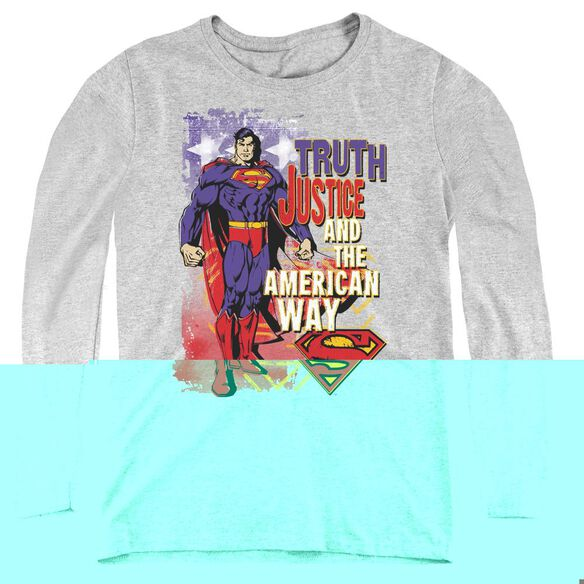 Superman Truth Justice-womens Long Sleeve