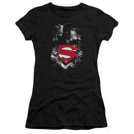 SUPERMAN DARKEST HOUR - S/S JUNIOR SHEER - BLACK T-Shirt