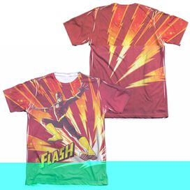 JLA LIGHTNING FAST (FRONT/BACK PRINT) - ADULT 65/35 POLY/COTTON S/S TEE - WHITE T-Shirt