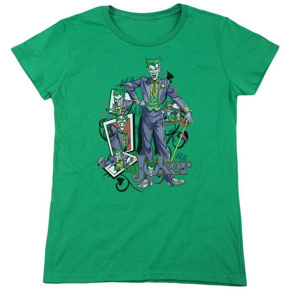 Batman Wild Cards Short Sleeve Womens Tee Kelly T-Shirt