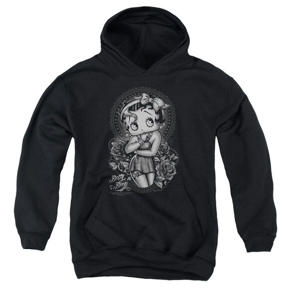 Betty Boop Fashion Roses Youth Pull Over Hoodie