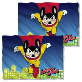 Mighty Mouse City Watch (Front Back Print) Pillow Case White
