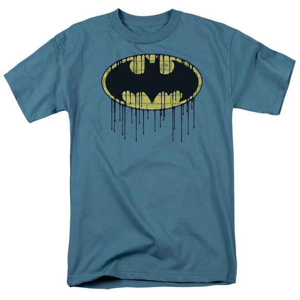 Batman Dripping Brick Wall Shield Short Sleeve Adult T-Shirt