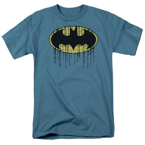 Batman Dripping Brick Wall Shield Short Sleeve Adult Slate T-Shirt
