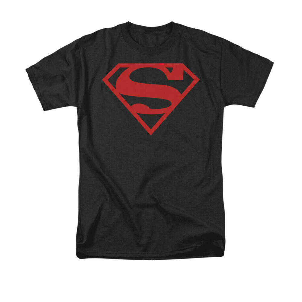 Superman Red On Black Shield T-Shirt