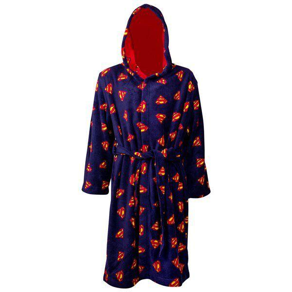 Superman Logos AoP Reversible Fleece Hooded Robe