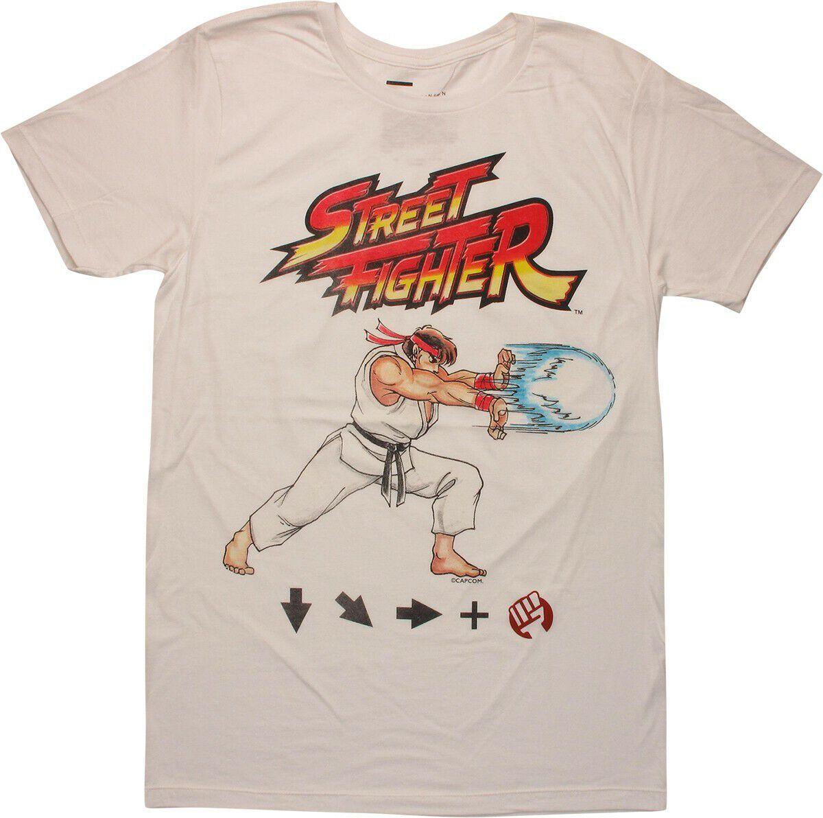 Street Fighter Ryu Hadouken Control White T-Shirt