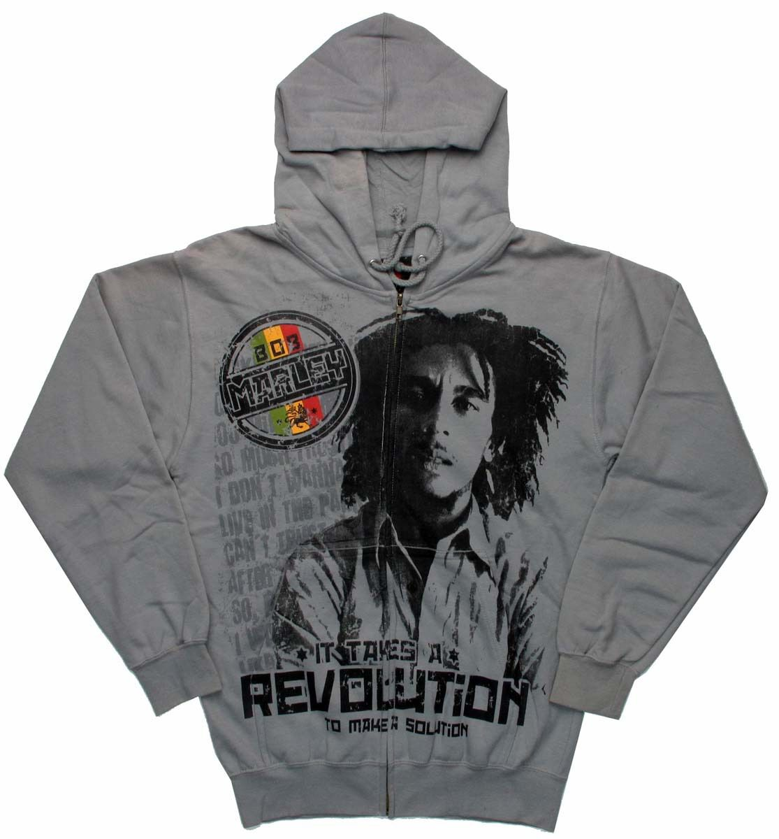 Bob Marley It Takes a Revolution Zippered Hoodie